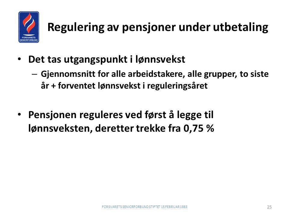 Regulering av pensjoner under utbetaling