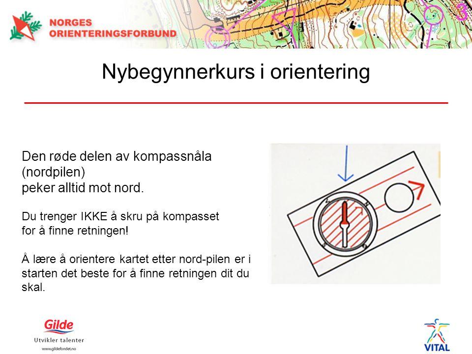 Den røde delen av kompassnåla (nordpilen) peker alltid mot nord.