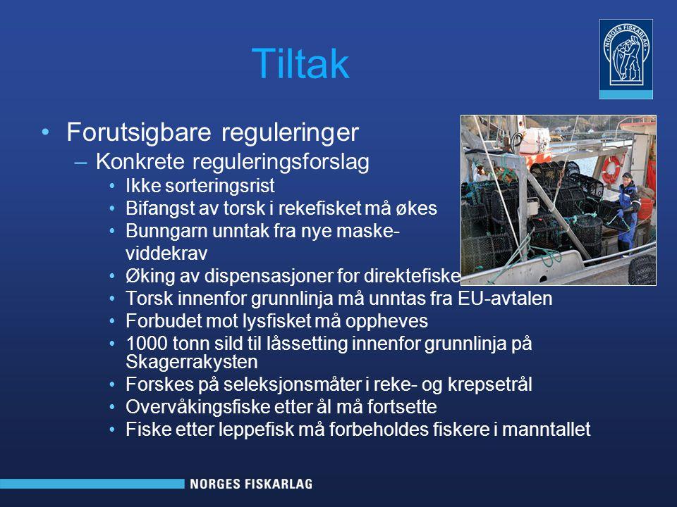 Tiltak Forutsigbare reguleringer Konkrete reguleringsforslag