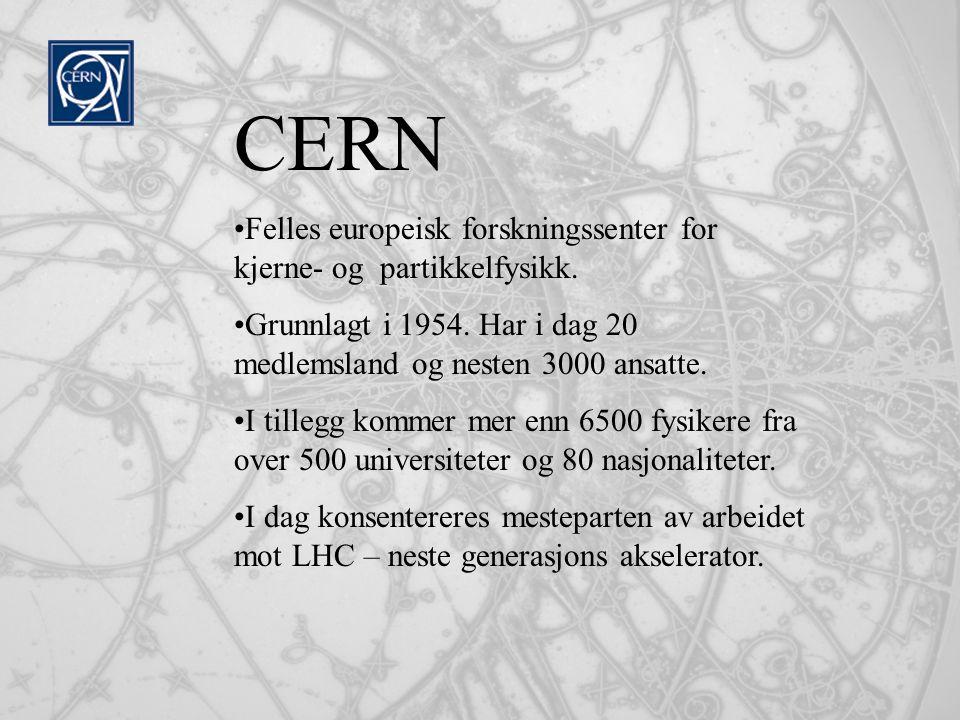 CERN Felles europeisk forskningssenter for kjerne- og partikkelfysikk.