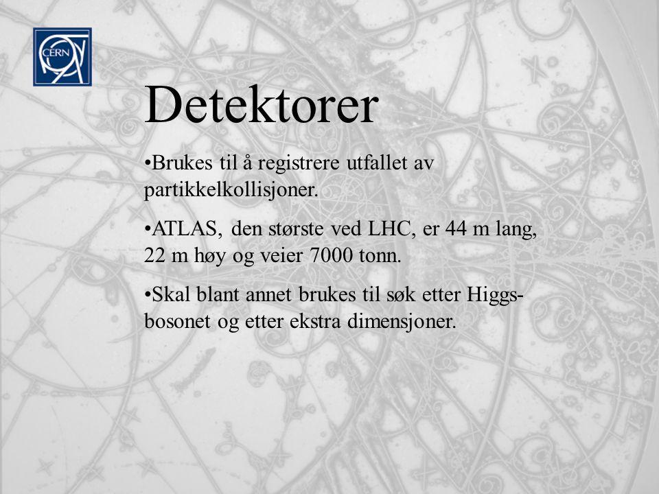 Detektorer Brukes til å registrere utfallet av partikkelkollisjoner.