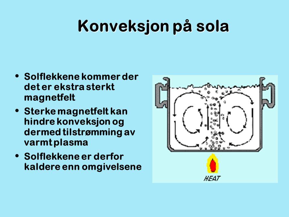 Konveksjon på sola Solflekkene kommer der det er ekstra sterkt magnetfelt.