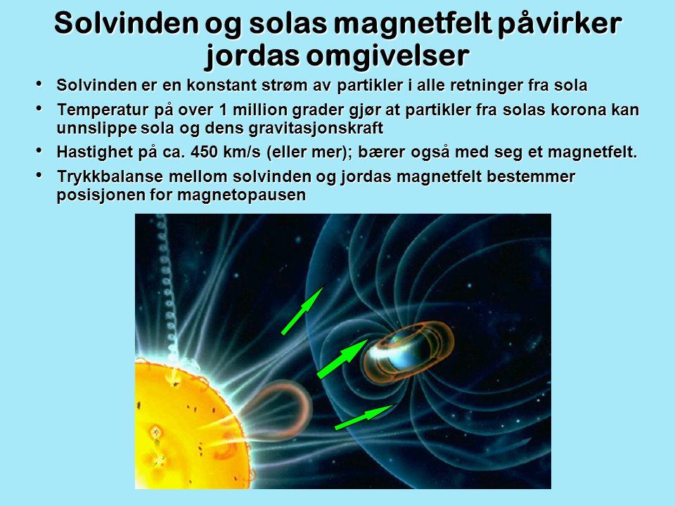 Solvinden og solas magnetfelt påvirker jordas omgivelser