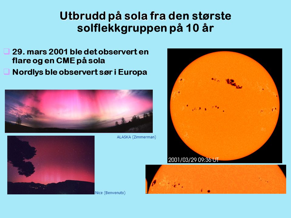 Utbrudd på sola fra den største solflekkgruppen på 10 år