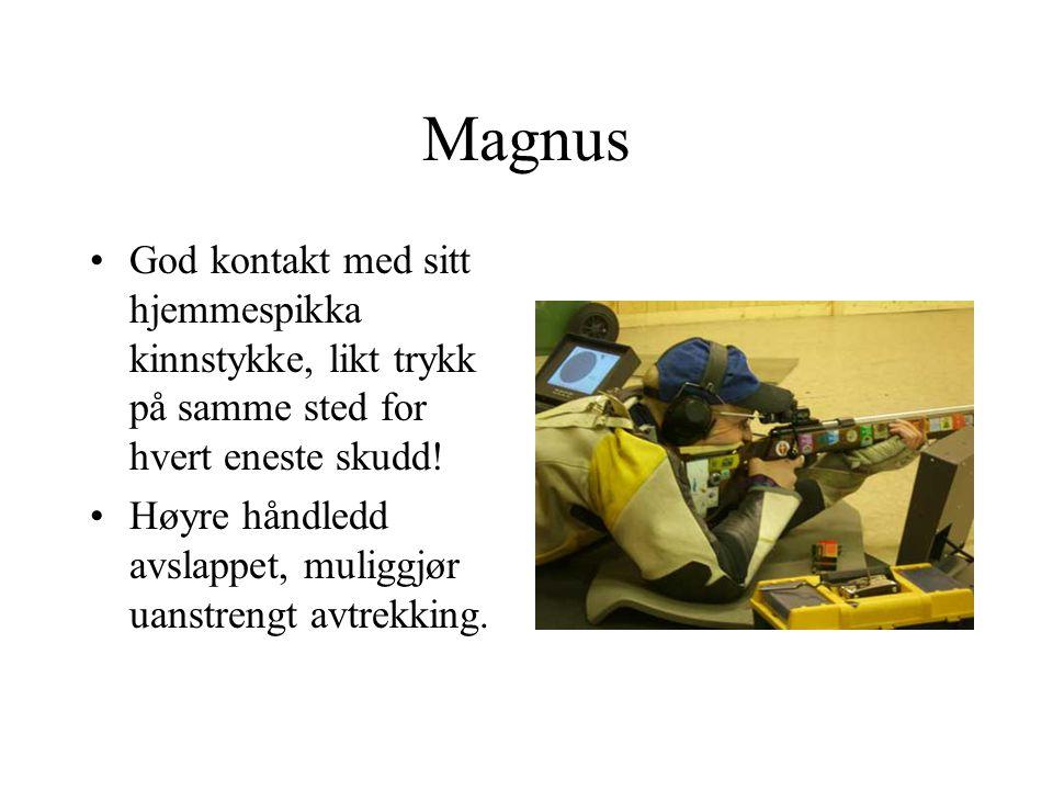 Magnus God kontakt med sitt hjemmespikka kinnstykke, likt trykk på samme sted for hvert eneste skudd!