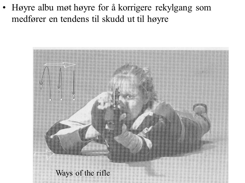Høyre albu møt høyre for å korrigere rekylgang som medfører en tendens til skudd ut til høyre