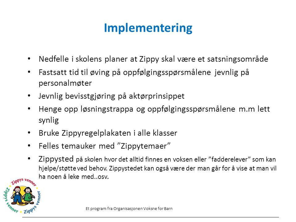 Implementering Nedfelle i skolens planer at Zippy skal være et satsningsområde.