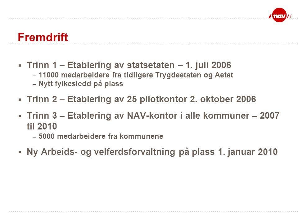 Fremdrift Trinn 1 – Etablering av statsetaten – 1. juli 2006