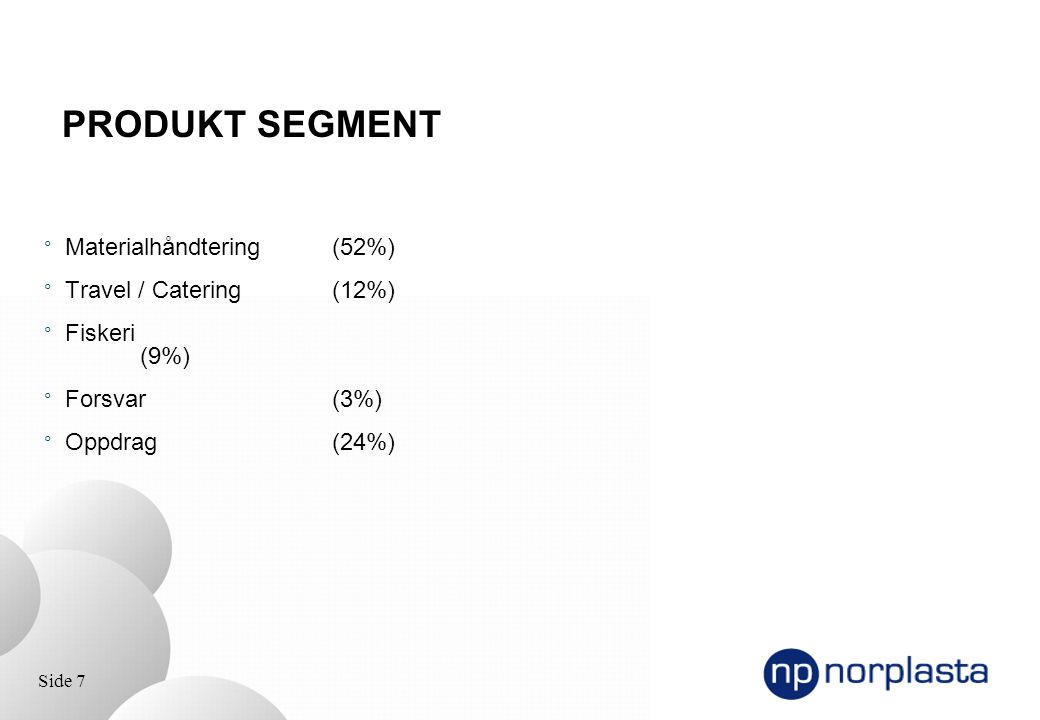 PRODUKT SEGMENT Materialhåndtering (52%) Travel / Catering (12%)
