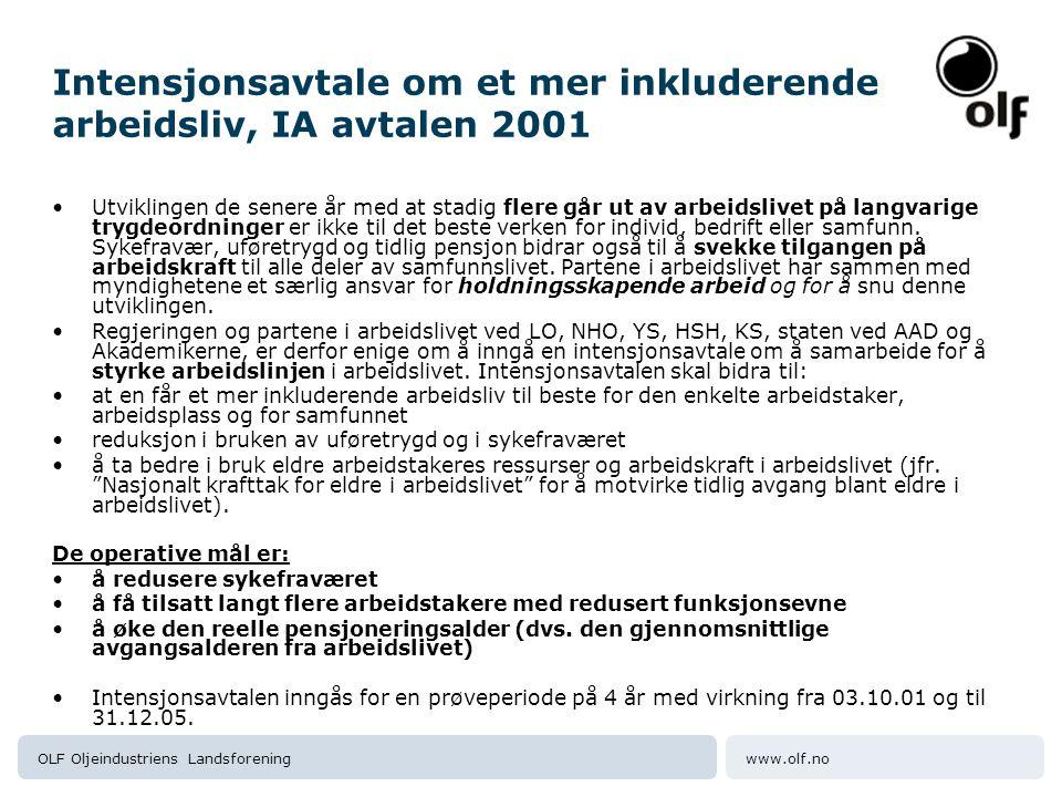 Intensjonsavtale om et mer inkluderende arbeidsliv, IA avtalen 2001