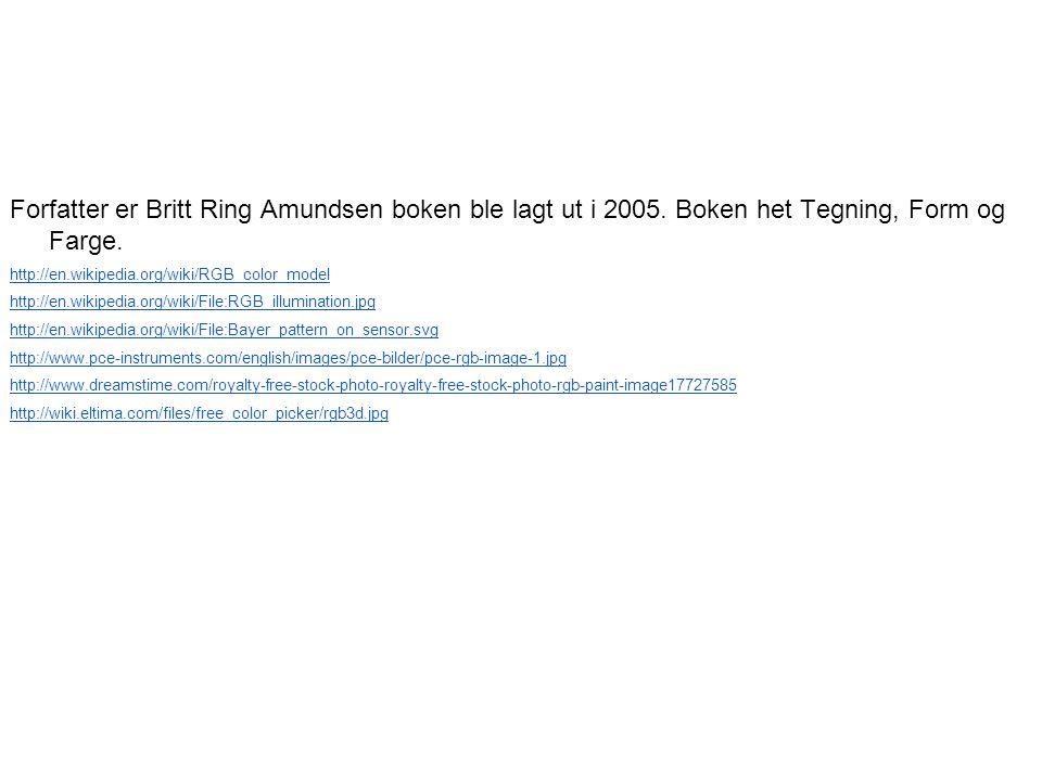 Forfatter er Britt Ring Amundsen boken ble lagt ut i 2005