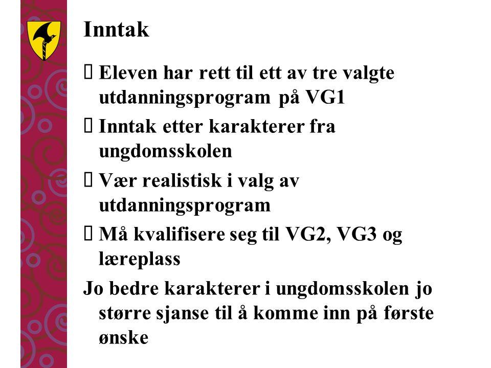 Inntak Eleven har rett til ett av tre valgte utdanningsprogram på VG1