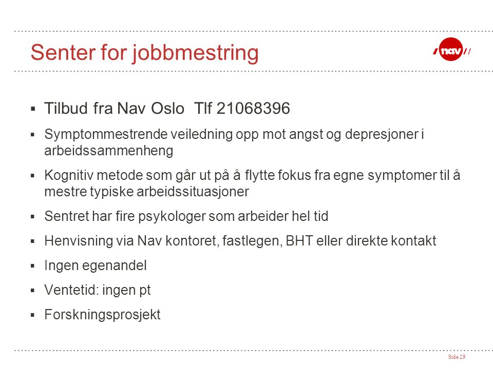 Senter for jobbmestring