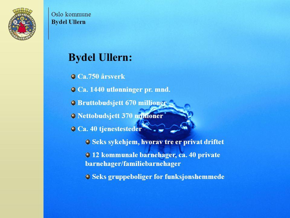 Oslo kommune. Bydel Ullern. Bydel Ullern: Ca.750 årsverk. Ca. 1440 utlønninger pr. mnd. Bruttobudsjett 670 millioner.