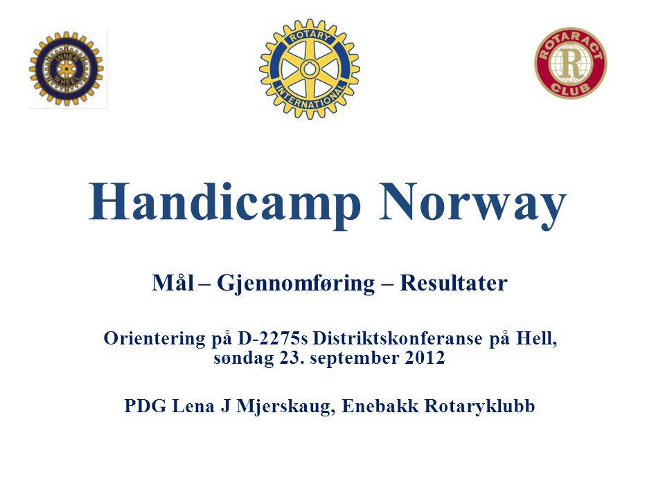 Handicamp Norway Mål – Gjennomføring – Resultater