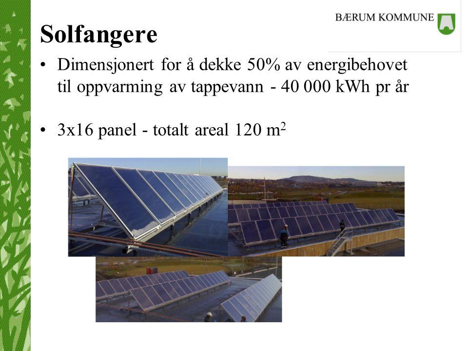 Solfangere Dimensjonert for å dekke 50% av energibehovet til oppvarming av tappevann - 40 000 kWh pr år.