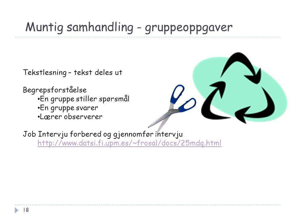 Muntig samhandling - gruppeoppgaver