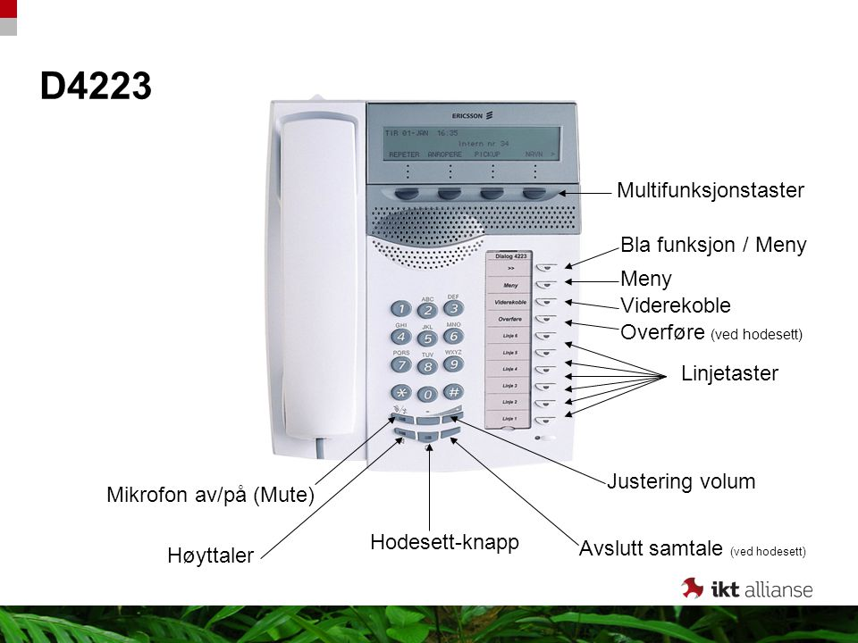 D4223 Multifunksjonstaster Bla funksjon / Meny Meny Viderekoble
