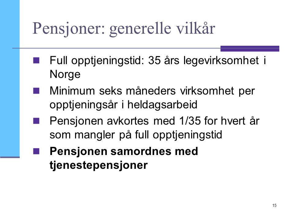 Pensjoner: generelle vilkår