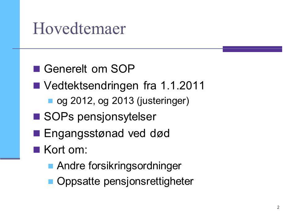 Hovedtemaer Generelt om SOP Vedtektsendringen fra 1.1.2011