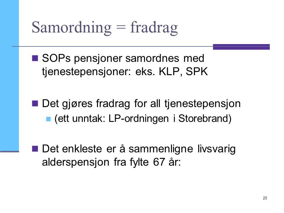 Samordning = fradrag SOPs pensjoner samordnes med tjenestepensjoner: eks. KLP, SPK. Det gjøres fradrag for all tjenestepensjon.