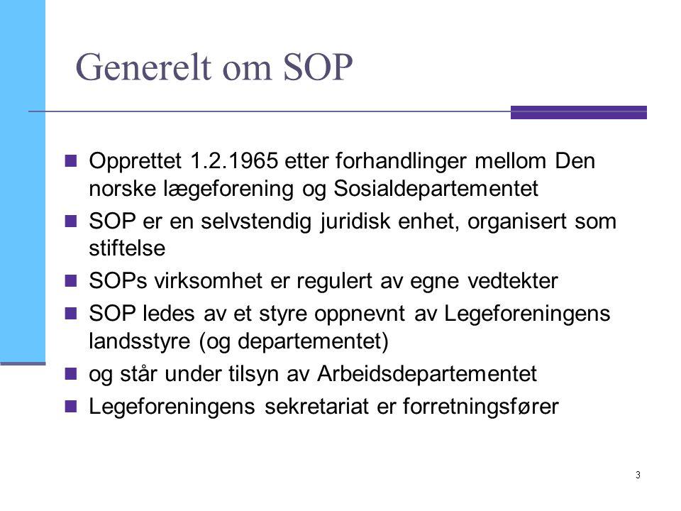 Generelt om SOP Opprettet 1.2.1965 etter forhandlinger mellom Den norske lægeforening og Sosialdepartementet.