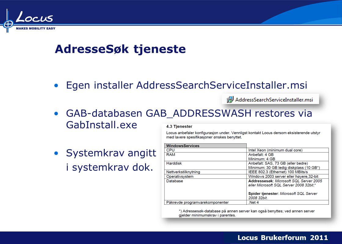 AdresseSøk tjeneste Egen installer AddressSearchServiceInstaller.msi