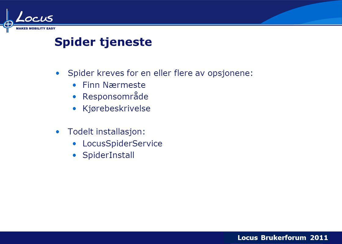 Spider tjeneste Spider kreves for en eller flere av opsjonene: