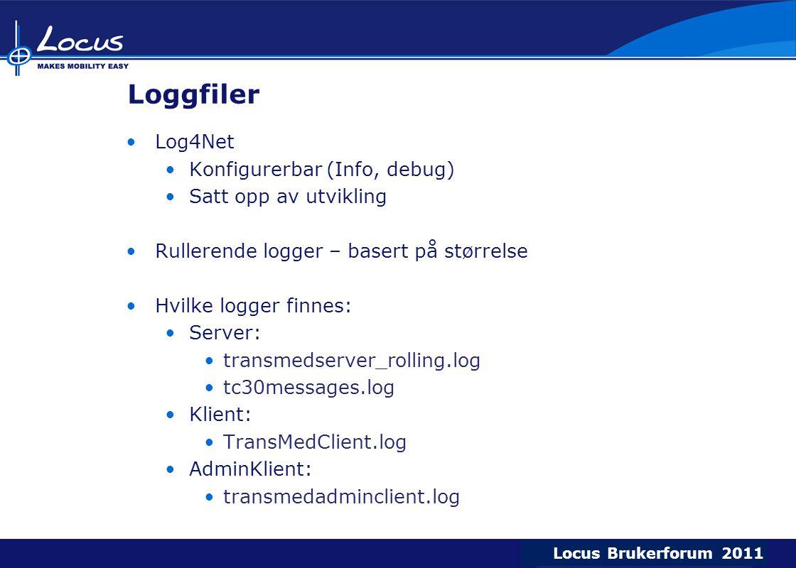 Loggfiler Log4Net Konfigurerbar (Info, debug) Satt opp av utvikling