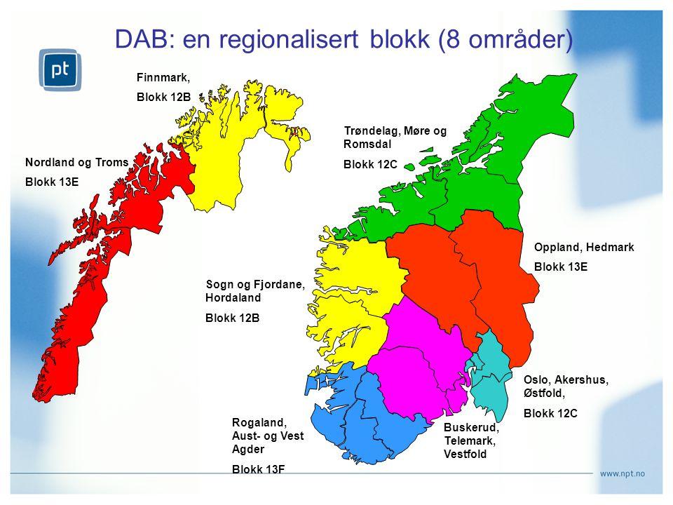 DAB: en regionalisert blokk (8 områder)