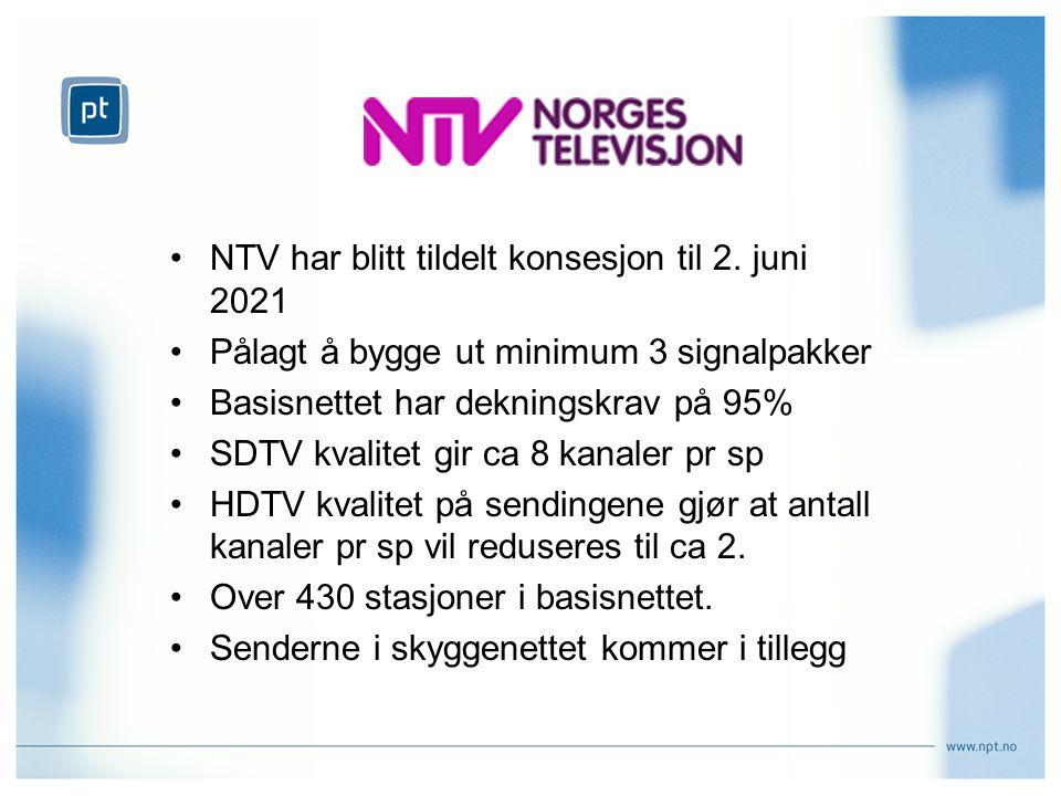 NTV har blitt tildelt konsesjon til 2. juni 2021