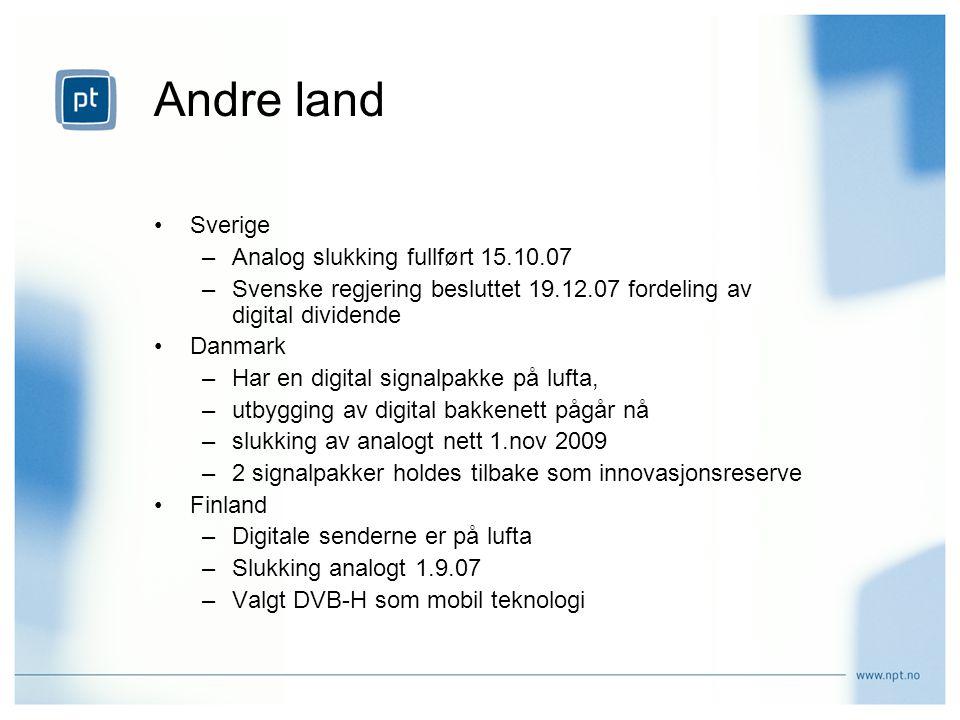 Andre land Sverige Analog slukking fullført 15.10.07