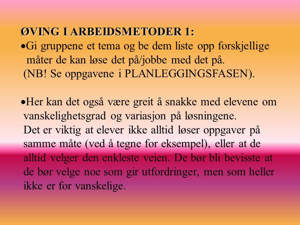 ØVING I ARBEIDSMETODER 1: