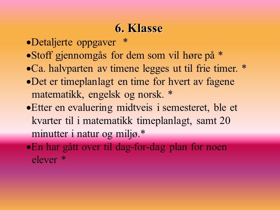 6. Klasse Detaljerte oppgaver *