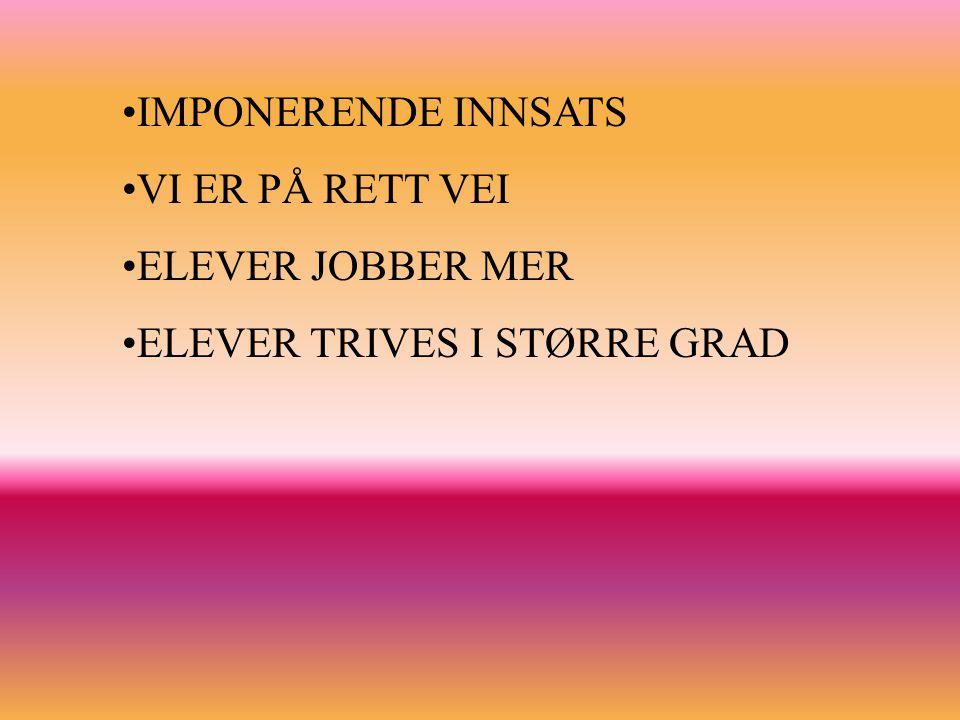 IMPONERENDE INNSATS VI ER PÅ RETT VEI ELEVER JOBBER MER ELEVER TRIVES I STØRRE GRAD
