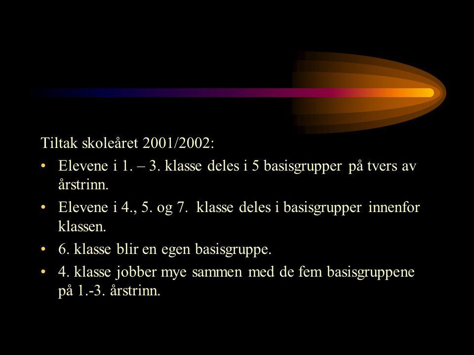 Tiltak skoleåret 2001/2002: Elevene i 1. – 3. klasse deles i 5 basisgrupper på tvers av årstrinn.