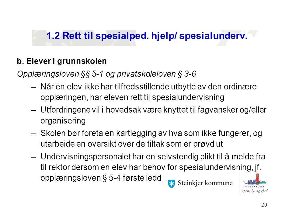 1.2 Rett til spesialped. hjelp/ spesialunderv.