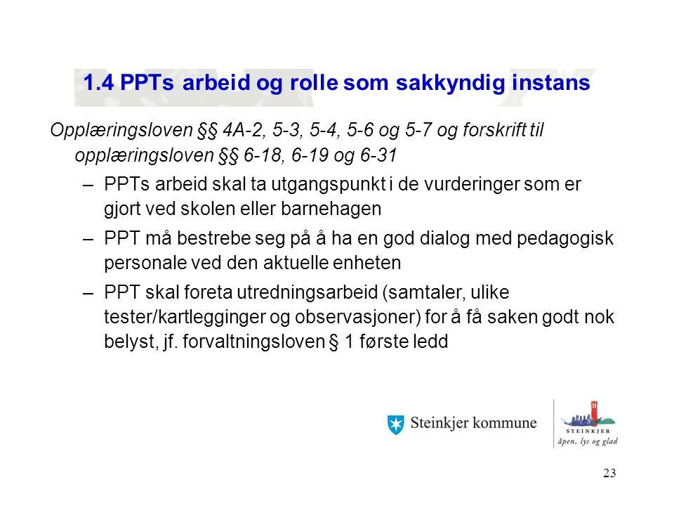 1.4 PPTs arbeid og rolle som sakkyndig instans