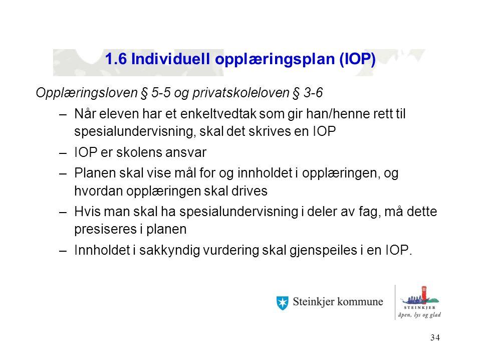 1.6 Individuell opplæringsplan (IOP)