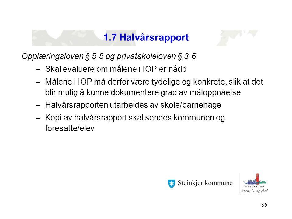 1.7 Halvårsrapport Opplæringsloven § 5-5 og privatskoleloven § 3-6