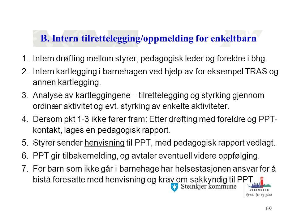 B. Intern tilrettelegging/oppmelding for enkeltbarn