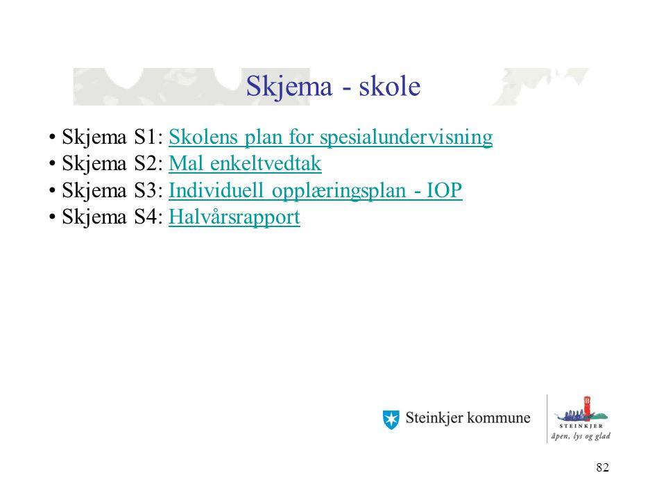 Skjema - skole Skjema S1: Skolens plan for spesialundervisning