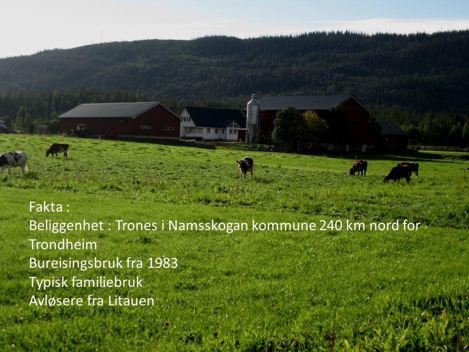Fakta : Beliggenhet : Trones i Namsskogan kommune 240 km nord for Trondheim. Bureisingsbruk fra 1983.