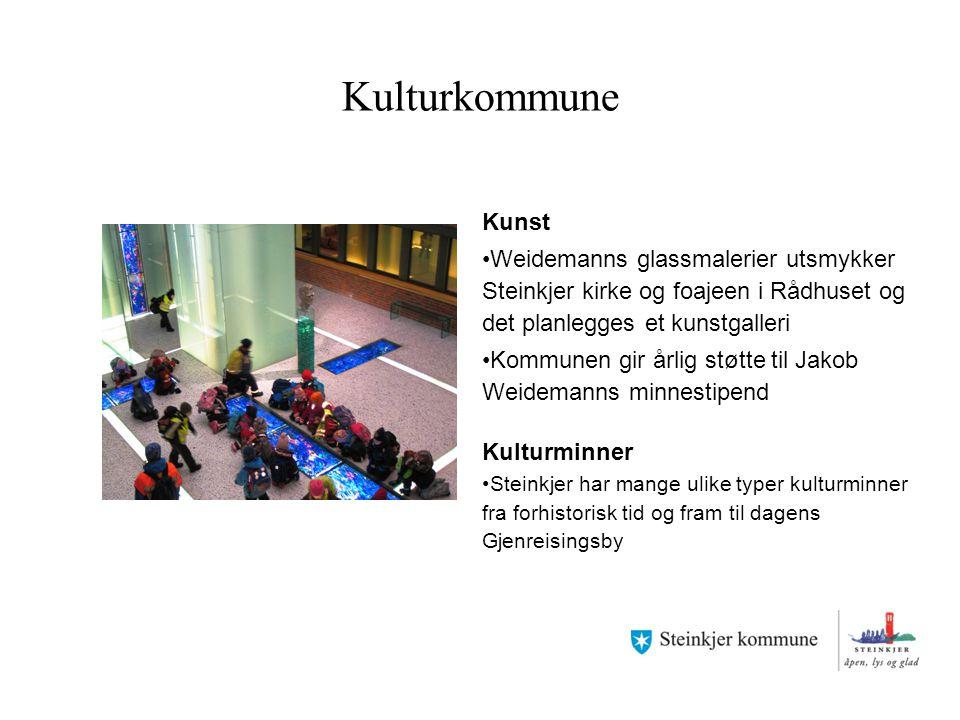 Kulturkommune Kunst. Weidemanns glassmalerier utsmykker Steinkjer kirke og foajeen i Rådhuset og det planlegges et kunstgalleri.