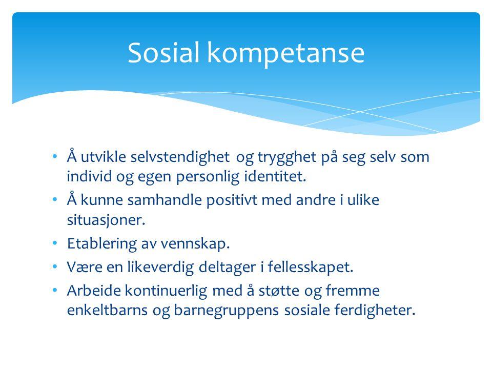 Sosial kompetanse Å utvikle selvstendighet og trygghet på seg selv som individ og egen personlig identitet.