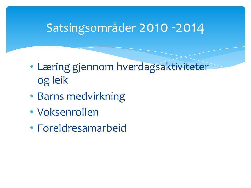 Satsingsområder 2010 -2014 Læring gjennom hverdagsaktiviteter og leik
