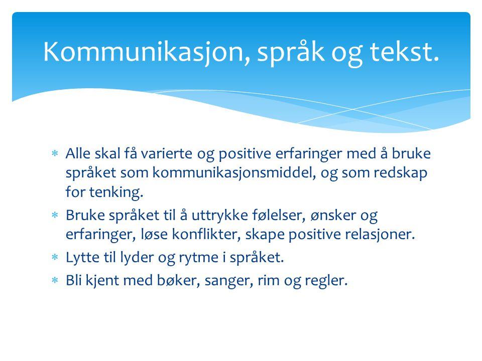 Kommunikasjon, språk og tekst.