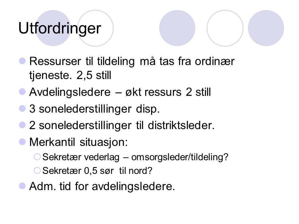 Utfordringer Ressurser til tildeling må tas fra ordinær tjeneste. 2,5 still. Avdelingsledere – økt ressurs 2 still.