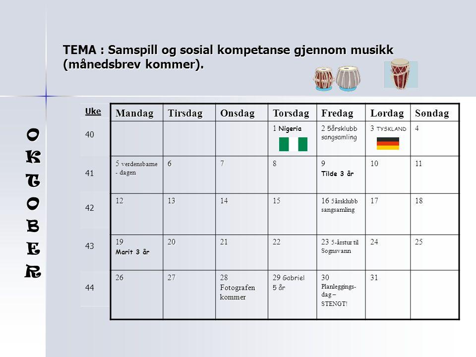 TEMA : Samspill og sosial kompetanse gjennom musikk (månedsbrev kommer).