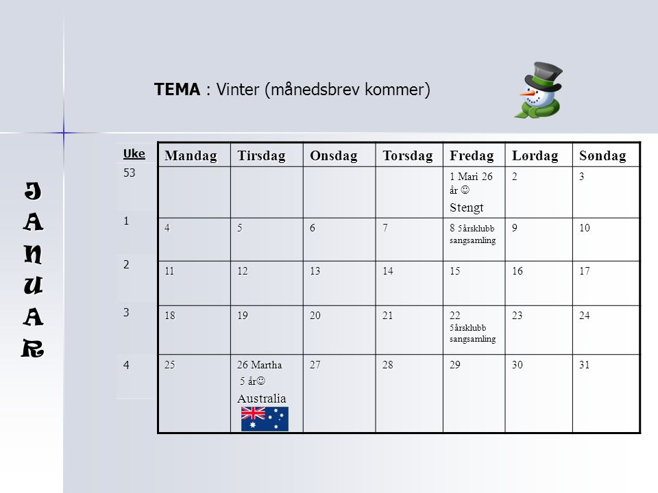 J A N U R TEMA : Vinter (månedsbrev kommer) Mandag Tirsdag Onsdag